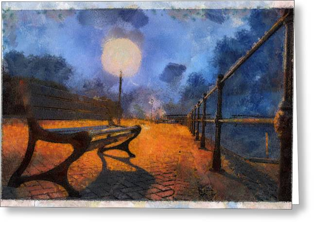 Night Lamp Mixed Media Greeting Cards - Lamplight Greeting Card by Sam Smith Photography