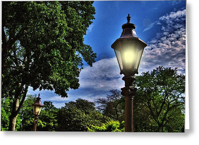 Mikki Cucuzzo Greeting Cards - Lamposts Greeting Card by Mikki Cucuzzo