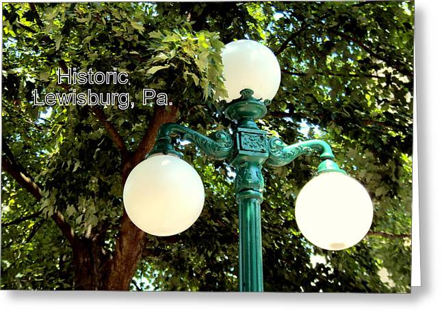 Lewisburg Greeting Cards - Lamppost Greeting Card by Penny Johnson