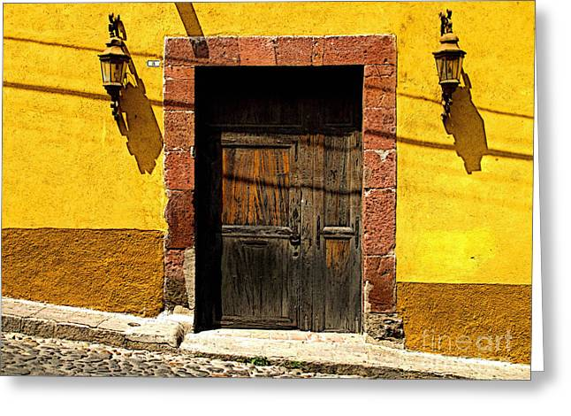 San Miguel De Allende Greeting Cards - Lamps in Ochre Greeting Card by Olden Mexico