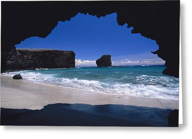 Sharks Cove Greeting Cards - Lanai, PuU Pehe Greeting Card by Ron Dahlquist - Printscapes