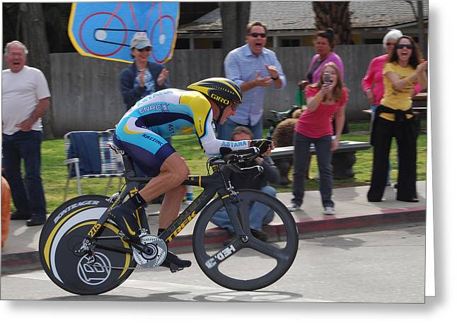 Time Trials Greeting Cards - Lance Armstrong Greeting Card by Peggy Zachariou
