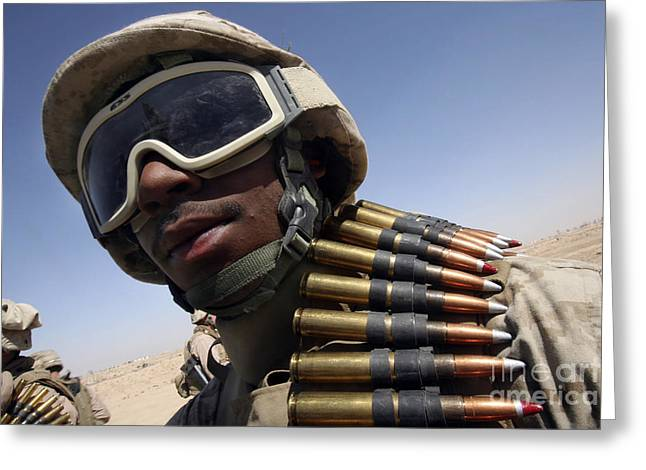 .50 Caliber Greeting Cards - Lance Corporal Waits For His Turn Greeting Card by Stocktrek Images