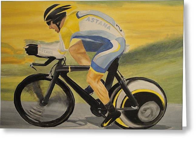 Livestrong Greeting Cards - Lance Time Trialing Greeting Card by James Lopez