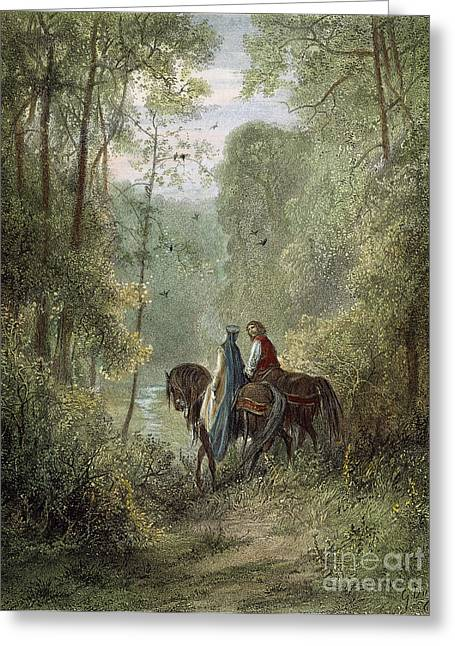 Guinevere Greeting Cards - Lancelot & Guinevere Greeting Card by Granger