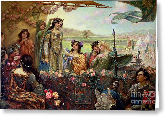 Guinevere Paintings Greeting Cards - Lancelot and Guinevere Greeting Card by Herbert James Draper
