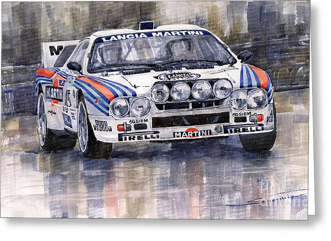 Classic Sports Cars Greeting Cards - Lancia 037 Martini Rally 1983 Greeting Card by Yuriy  Shevchuk