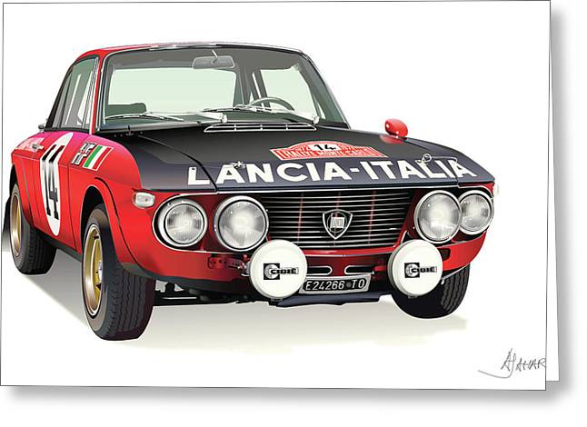 Automotive Illustration Greeting Cards - Lancia Fulvia HF Greeting Card by Alain Jamar