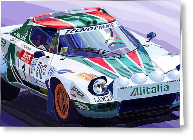 Rally Greeting Cards - Lancia Stratos Alitalia Rally Catalonya Costa Brava 2008 Greeting Card by Yuriy  Shevchuk