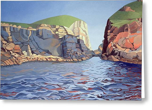 Geography Paintings Greeting Cards - Land and Sea No I - Ramsey Island Greeting Card by Anna Teasdale