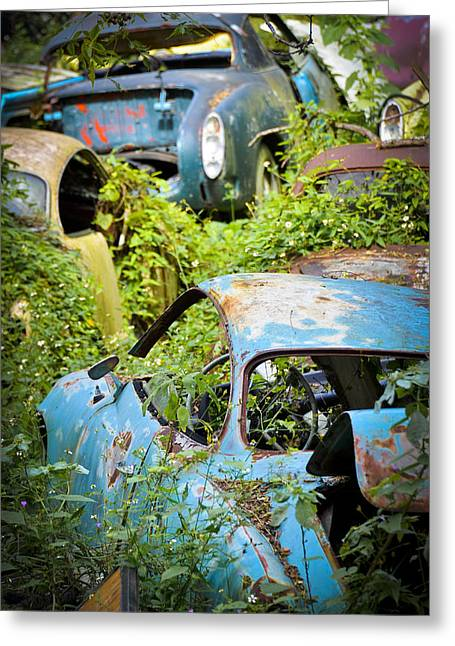 Antique Automobiles Photographs Greeting Cards - Land of the Lost Greeting Card by Carolyn Marshall