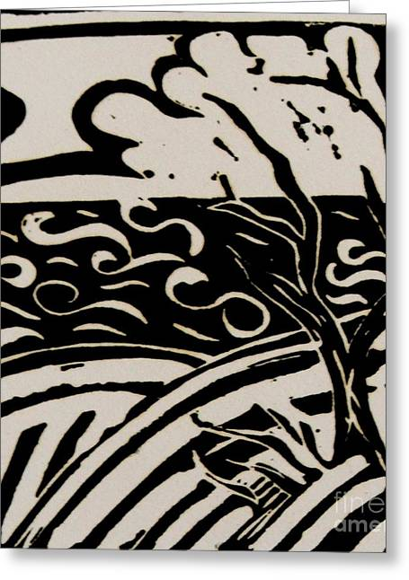 Skies Reliefs Greeting Cards - Land Sea Sky In Black and White Greeting Card by Caroline Street