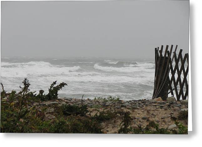 Best Sellers -  - Storm Clouds Cape Cod Greeting Cards - Land vs Sea Greeting Card by Brian Mazzoli
