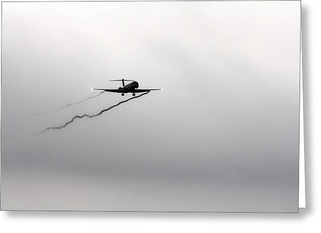 American Airlines Greeting Cards - Landing Approach in Bad Weather Greeting Card by Douglas Barnard