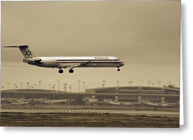 American Airlines Greeting Cards - Landing at DFW Airport Greeting Card by Douglas Barnard