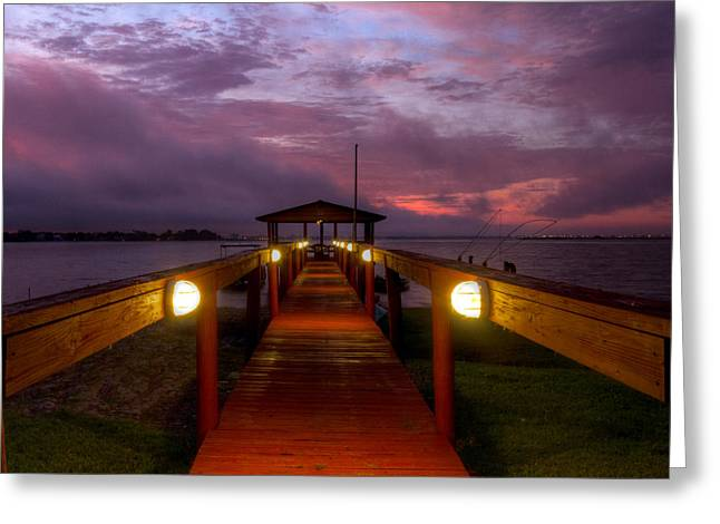 Florida House Greeting Cards - Landing lights Greeting Card by Debra and Dave Vanderlaan