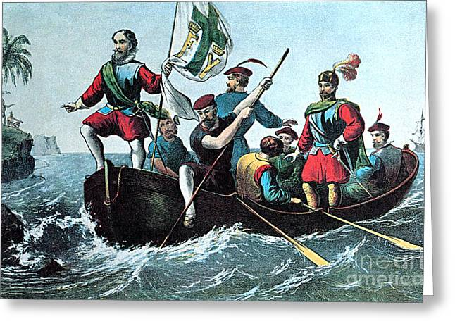 Cristoforo Greeting Cards - Landing Of Columbus At San Salvador Greeting Card by Photo Researchers