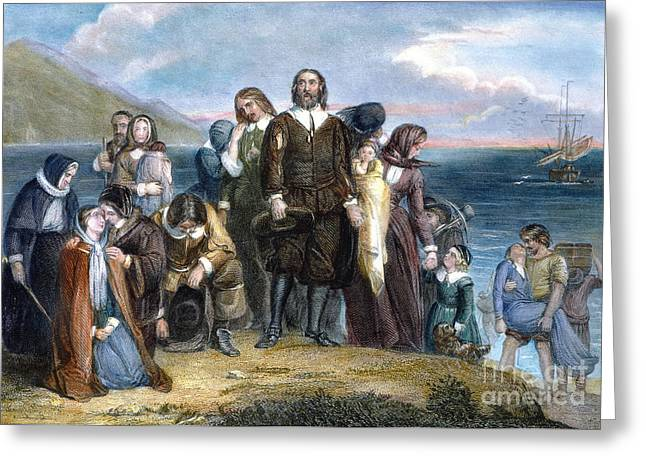 Plymouth Rock Greeting Cards - Landing Of Pilgrims, 1620 Greeting Card by Granger