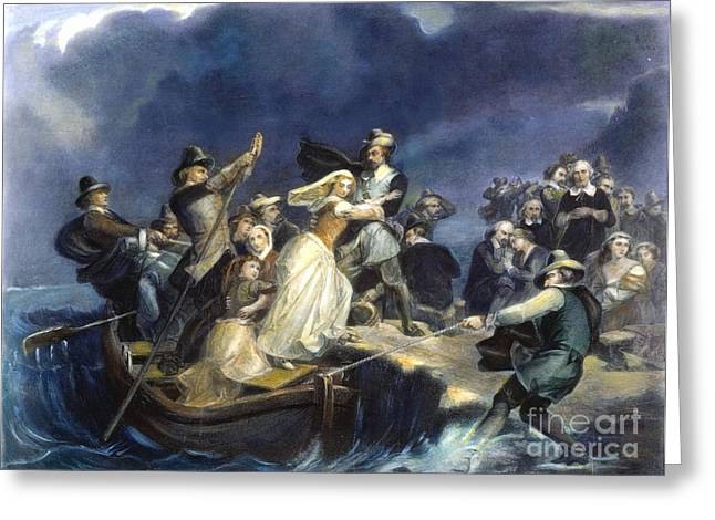 Plymouth Rock Greeting Cards - Landing Of The Pilgrims Greeting Card by Granger