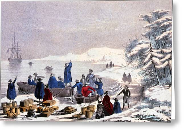Plymouth Rock Greeting Cards - Landing Of The Pilgrims On Plymouth Greeting Card by Photo Researchers