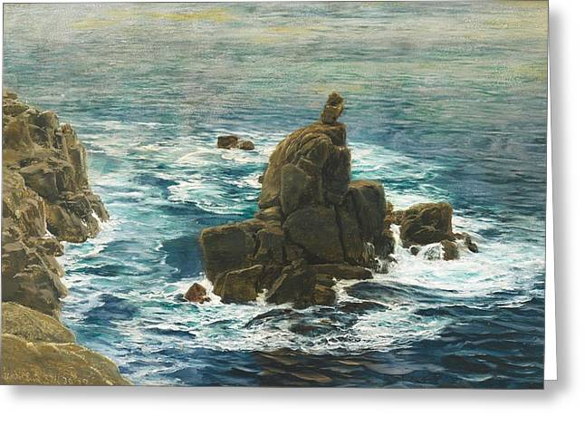 Natural Beauty Paintings Greeting Cards - Lands End Greeting Card by John Brett