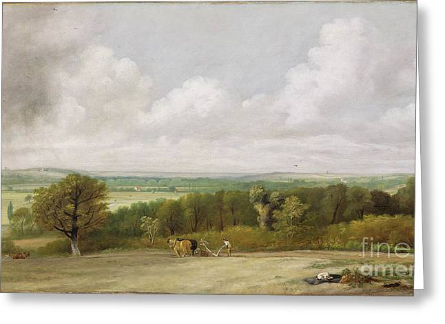 Constable; John (1776-1837) Greeting Cards - Landscape - Ploughing Scene in Suffolk Greeting Card by John Constable