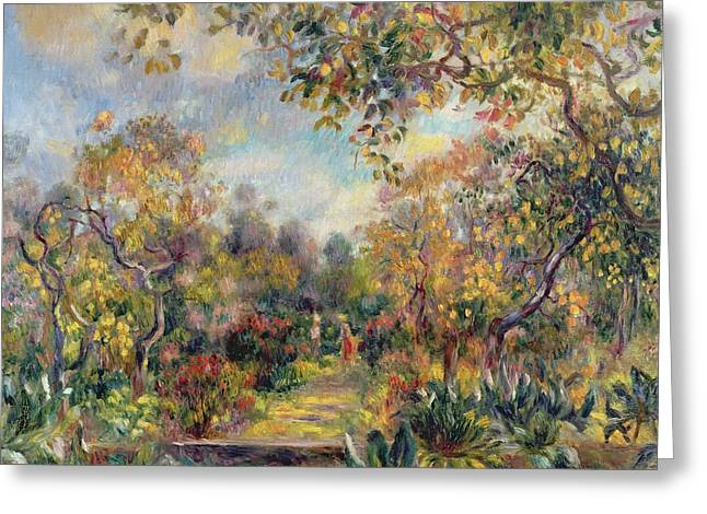 Renoir Greeting Cards - Landscape at Beaulieu Greeting Card by Pierre Auguste Renoir
