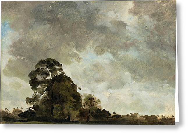 Storm Clouds Greeting Cards - Landscape at Hampstead - Tree and Storm Clouds Greeting Card by John Constable