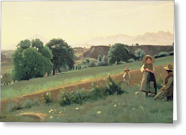 Family Time Paintings Greeting Cards - Landscape at Mornex Greeting Card by Jean Baptiste Corot