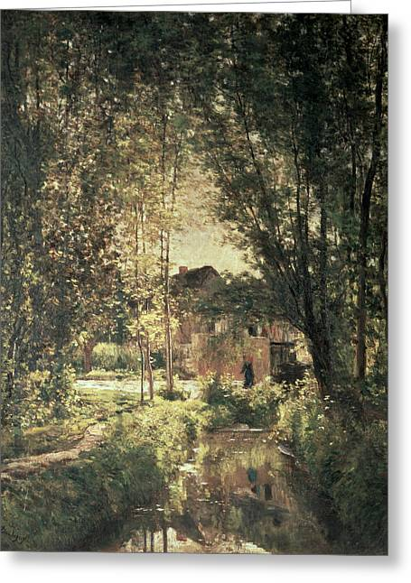 Francois Paintings Greeting Cards - Landscape Greeting Card by Charles Francois Daubigny