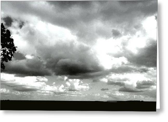 Grey Clouds Greeting Cards - Landscape in Bretagne France Greeting Card by Jan Willem Van Swigchem