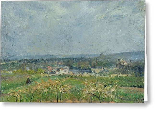 Camille Pissarro Greeting Cards - Landscape in Pontoise Greeting Card by Camille Pissarro