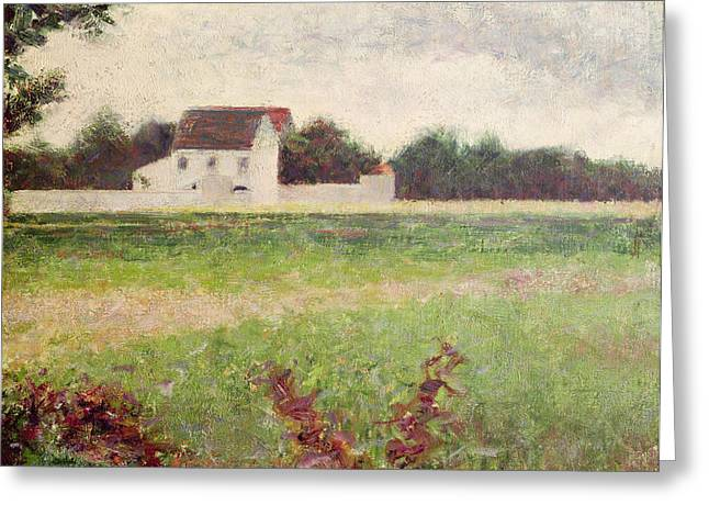 Seurat Paintings Greeting Cards - Landscape in the Ile de France Greeting Card by Georges Pierre Seurat
