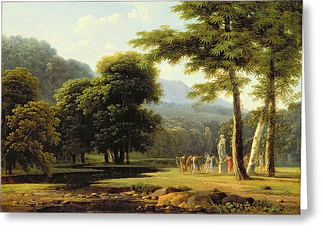Arcadia Greeting Cards - Landscape Greeting Card by Jean Victor Bertin