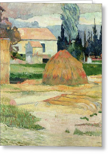 South Of France Paintings Greeting Cards - Landscape near Arles Greeting Card by Paul Gauguin