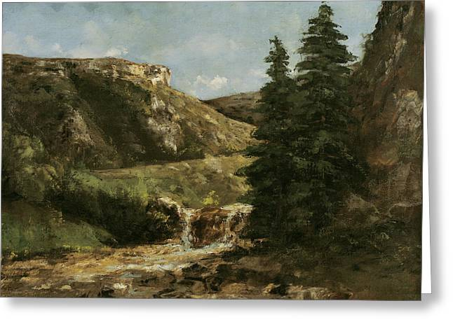 Gustave (1819-77) Greeting Cards - Landscape near Ornans Greeting Card by Gustave Courbet