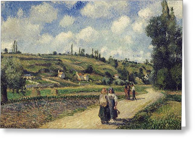 Rural Road Greeting Cards - Landscape near Pontoise Greeting Card by Camille Pissarro