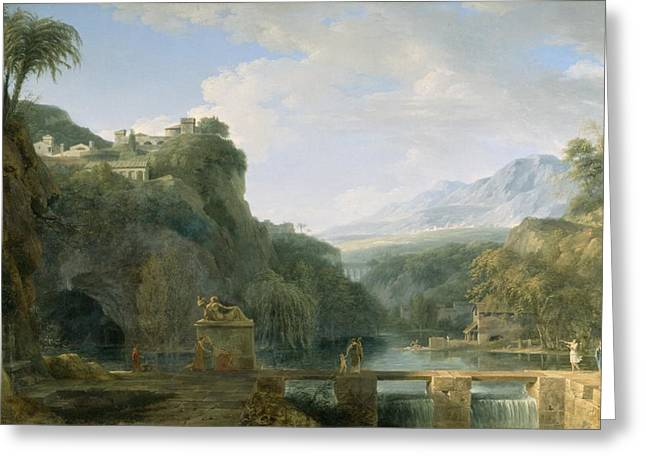 Rushing Water Greeting Cards - Landscape of Ancient Greece Greeting Card by Pierre Henri de Valenciennes