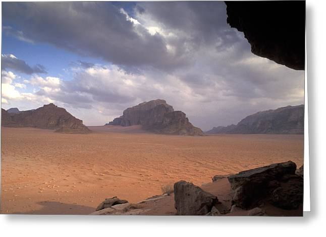 Jordan Photographs Greeting Cards - Landscape of the desert Greeting Card by Richard Nowitz