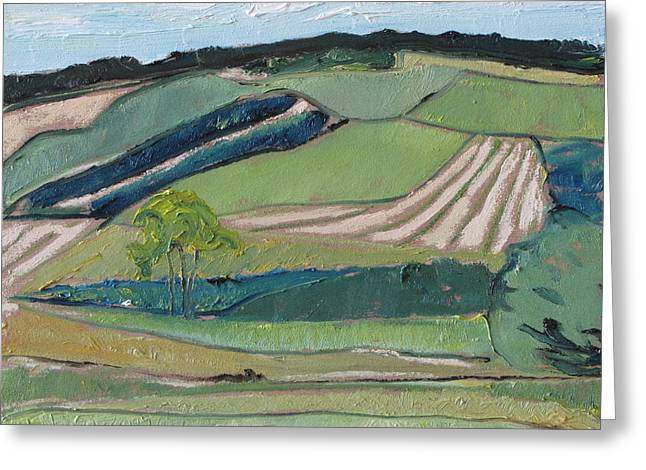 Francois Fournier Greeting Cards - Landscape Patchwork Greeting Card by Francois Fournier