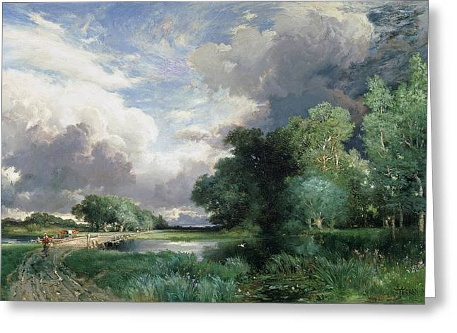 Beck Greeting Cards - Landscape with a bridge Greeting Card by Thomas Moran