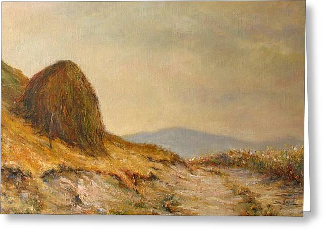 Landscape With A Haystack Greeting Cards - Landscape with a hayrick Greeting Card by Tigran Ghulyan