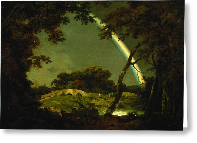 Arc-en-ciel Greeting Cards - Landscape with a Rainbow Greeting Card by Joseph Wright of Derby