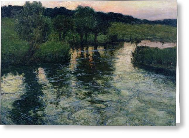 Sunset Scenes. Greeting Cards - Landscape with a River Greeting Card by Fritz Thaulow