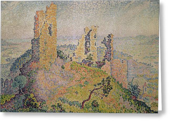 Pointillist Greeting Cards - Landscape with a Ruined Castle  Greeting Card by Paul Signac