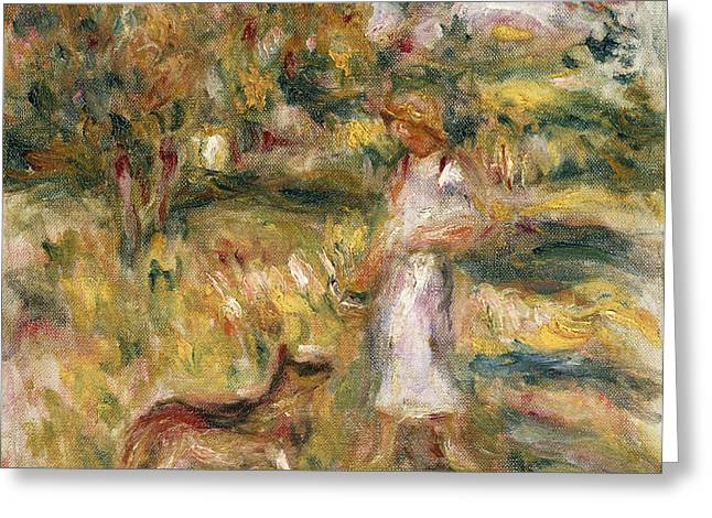 Landscape With A Woman In Blue Greeting Card by Pierre Auguste Renoir