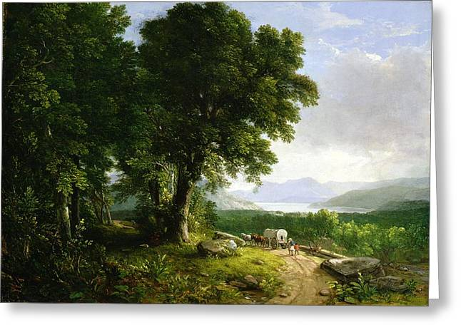 Westward Expansion Greeting Cards - Landscape with Covered Wagon Greeting Card by Asher Brown Durand