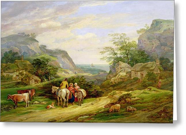 Cliffs And Houses Greeting Cards - Landscape with figures and cattle Greeting Card by James Leakey
