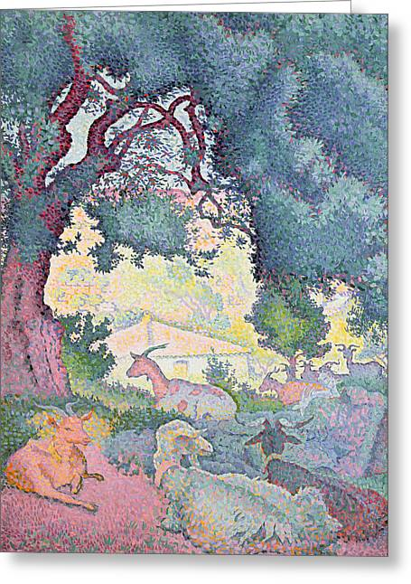 Pointillist Greeting Cards - Landscape with Goats Greeting Card by Henri-Edmond Cross