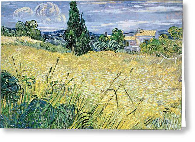 Corn Paintings Greeting Cards - Landscape with Green Corn Greeting Card by Vincent Van Gogh
